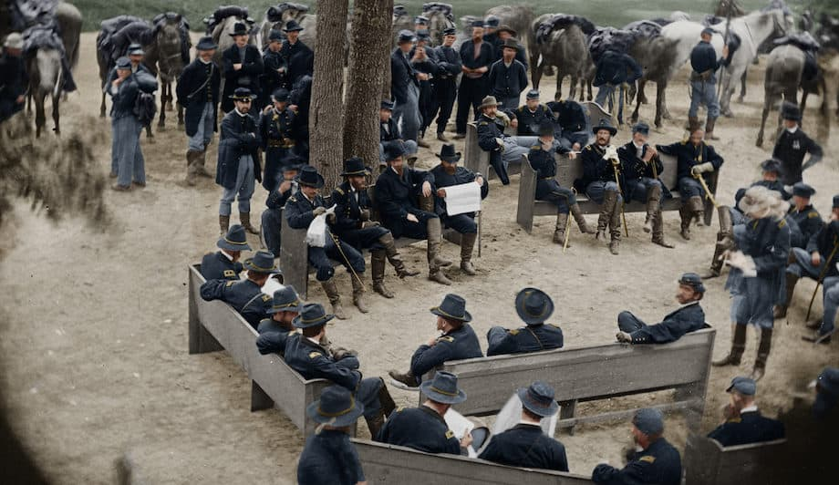 Civil War reenactors in uniform.