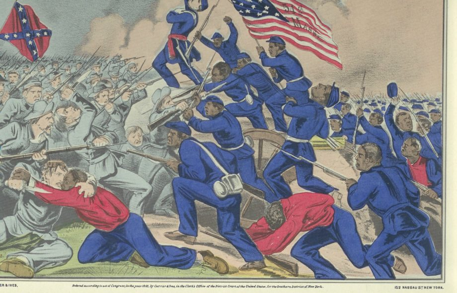 Historic print of the 54th Massachusetts Colored Troops charging a Confederate troop into battle