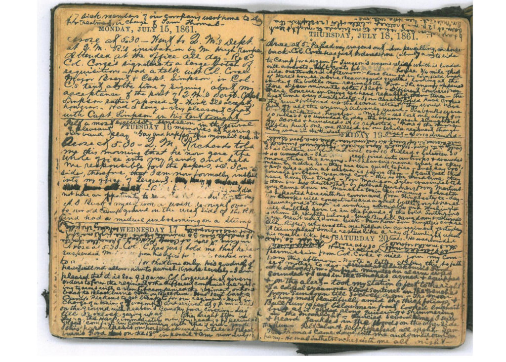 Scan of a diary entry from the Battle of Bull Run