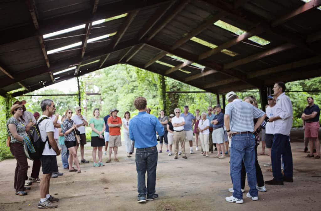 About 40 people joined the Tredegar Society for the 90 minute conversational walking tour to Belle Isle on Saturday, June 6, 2015.