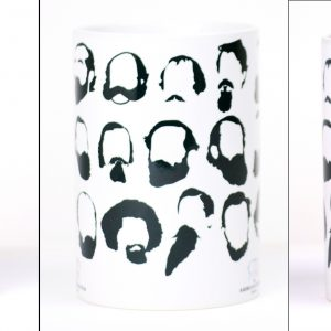 White mug with black silhouettes of prominent Civil War figures' facial hair