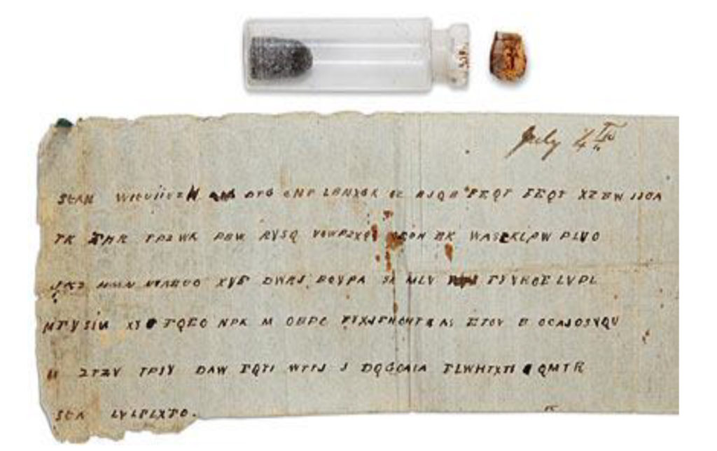 A piece of paper with a cyphered message accompanied by a small glass bottle