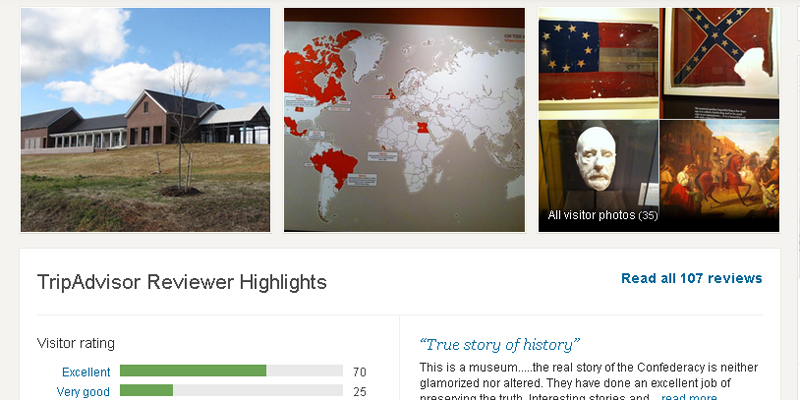TripAdvisor Screenshot for the Museum of the Confederacy-Appomattox page.
